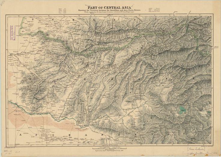 Carte d'une partie de l'Asie centrale, montrant le territoire entre le Zeravchan et l'Amou–Daria, principalement compilée à partir des derniers documents russes pour illustrer l'article de Delmar Morgan — Afficheur — Bibliothèque numérique mondiale