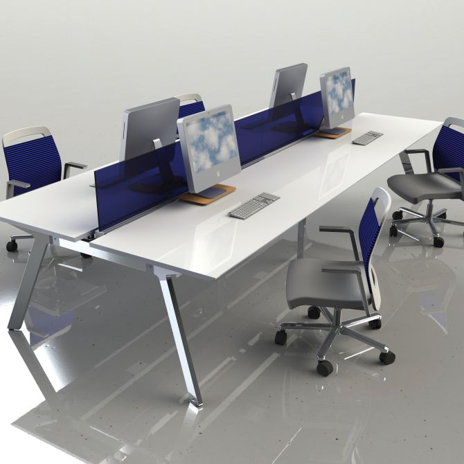 space office furniture. Premium High End Open Space Bench Desking Features Translucent Sapphire Blue Modesty Screens And Ultra Clean Office Furniture E