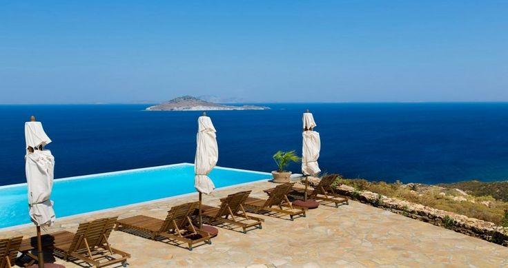 "50 nuances of #blue .. Check ""Villa Sophias"" - Patmos, Greece ! You can rent it ! #luxury #villa #rent #holidays #greece #vacances #grece #alouer #aroomwithaview #sea #bedroom #decoration #swimmingpool #beautiful"