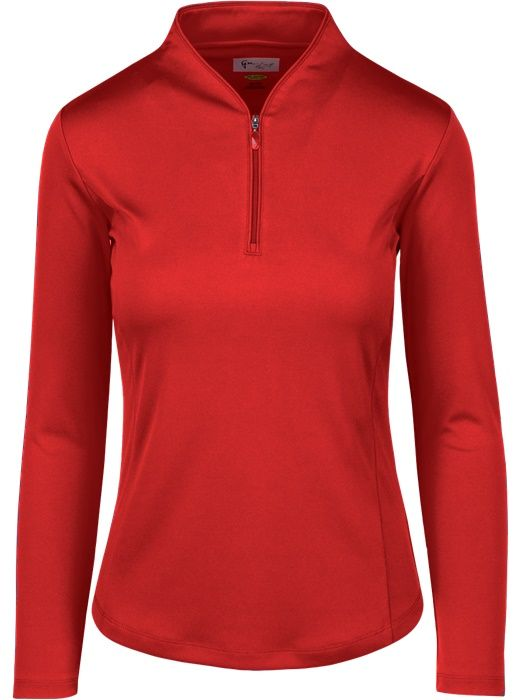 Check out our British Red ESSENTIALS Greg Norman Ladies & Plus Size Zip L/S Tulip Neck Golf Shirt! Find stylish golf apparel at #lorisgolfshoppe Click through to own this shirt!