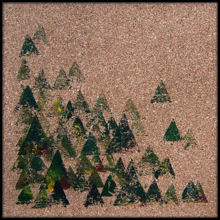 ΔΔΔ ********* triangles, winter, forest, stamp, graphic, print, square, cork,