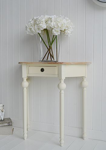 Cottage Cream half moon hall table. Ideas in country cottage home decorating and furnishing - www.thewhitecottagecompany.com