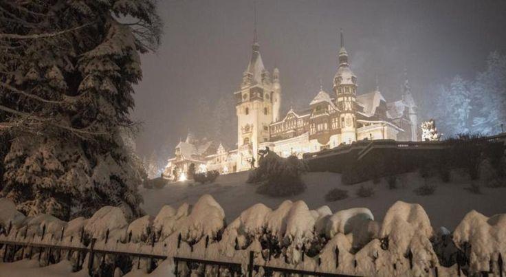 Peles Castle in winter.