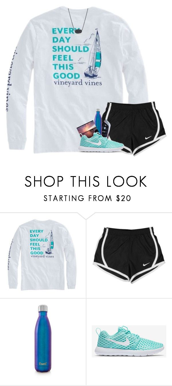 """My brain is 90% song lyrics "" by your-daily-prep ❤ liked on Polyvore featuring NIKE, BMW, S'well and Kendra Scott"
