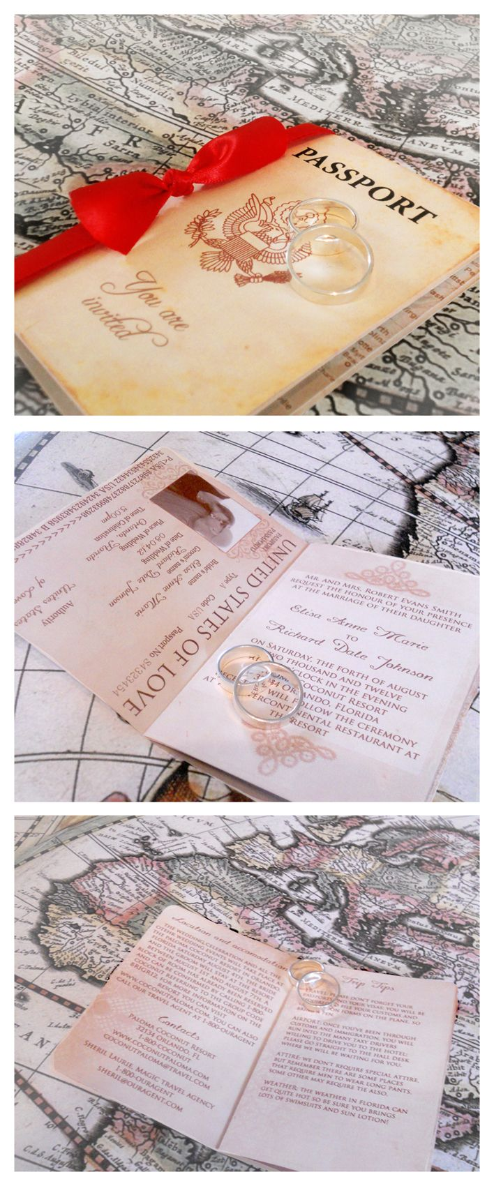 funny wedding invitation mail%0A An unique Wedding Invitation design inspired on a Vintage Passport