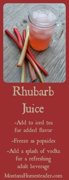 Rhubarb juice recipe and many ways to use it | Montana Homesteader:
