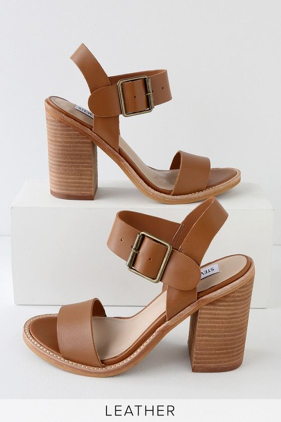 60af727e76c The Steve Madden Castro Cognac Leather High Heel Sandals have a genuine suede  leather toe strap and a quarter strap with silver buckle.