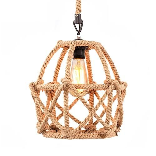 Pendant Lamp Shade American Style Round Linen Woven Cover Vintage Knitting Decoration Light