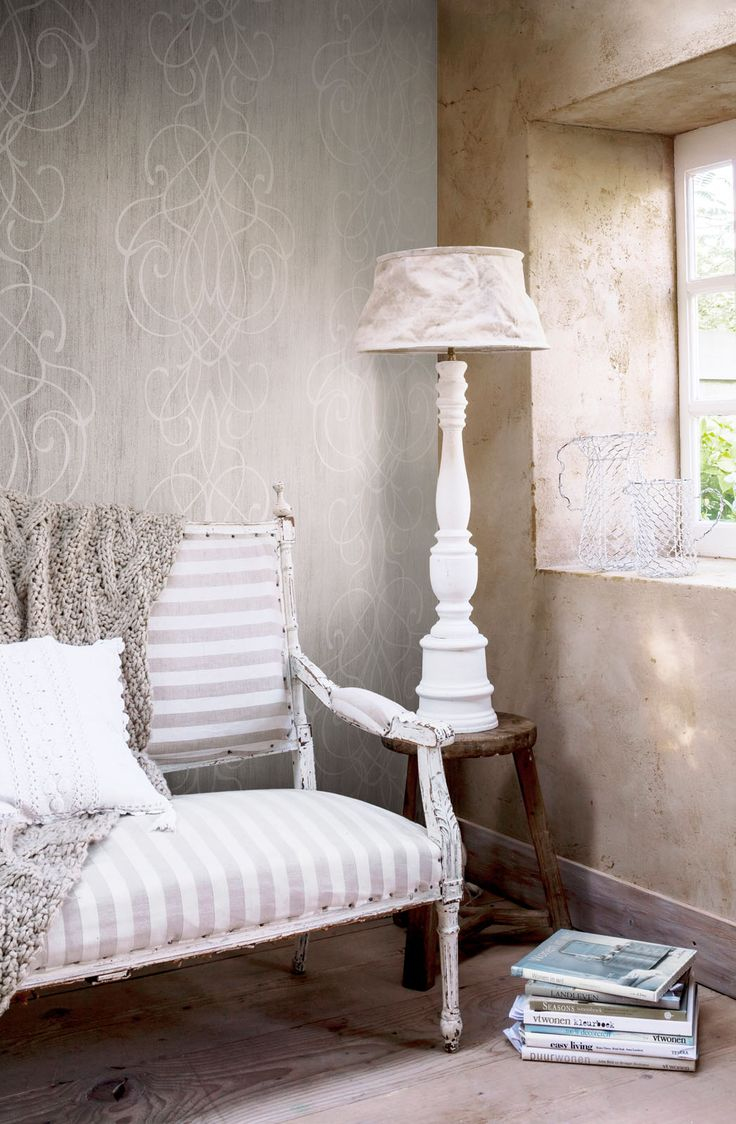 Wallpaper Camarque Grey white / Behang Camarque grijs wit - BN Wallcoverings