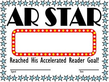 "Accelerated Reader Award - ""AR Star"" - two versions: ""Reached Accelerated Reader Goal"" & ""Scored 100 on First AR Test"""