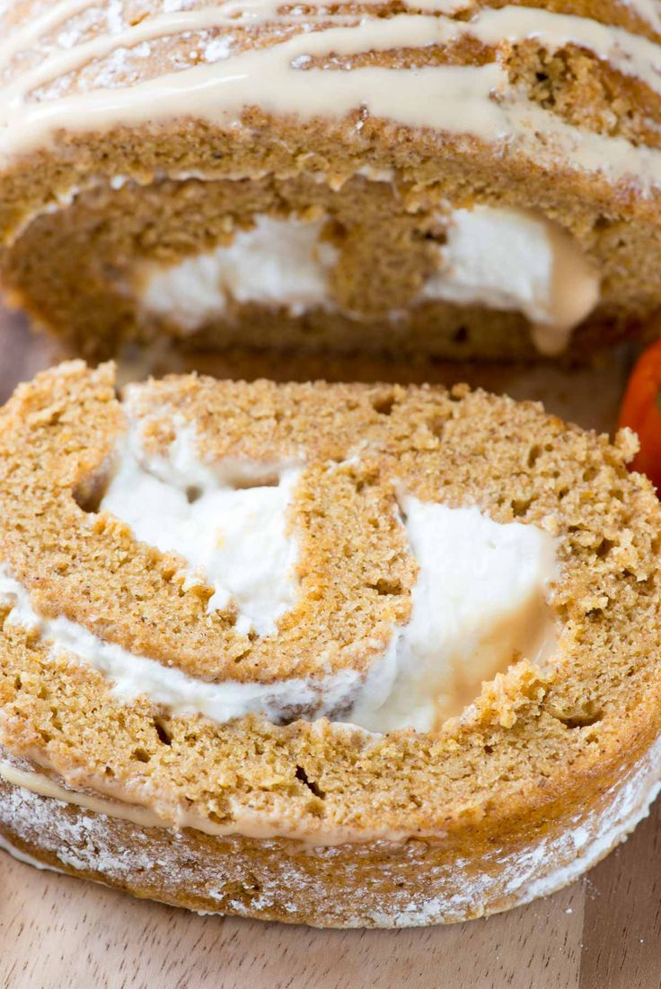 this easy pumpkin roll recipe is filled with caramel ganache and cream ...