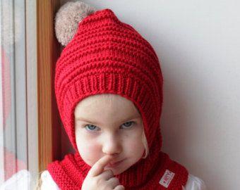 Rojas Merino Pixie pasamontañas bebé / niño niña con capucha sombrero con pompones Beige. Encargo o. m. de 6-12, 1-3-6-10 años