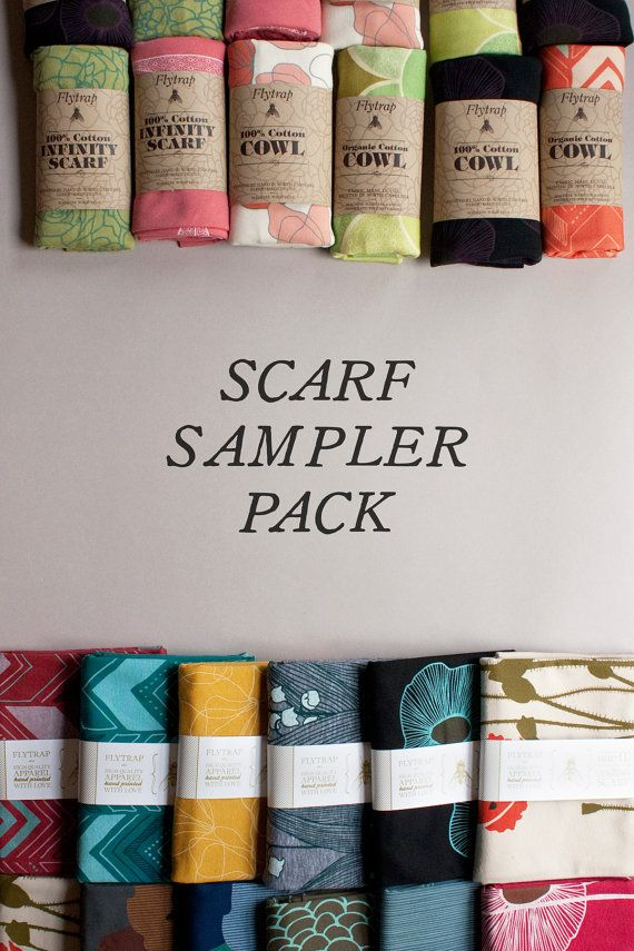 scarf sampler pack - two long scarves and two circular scarves - gift pack - bulk pricing - FREE SHIPPING - flytrap