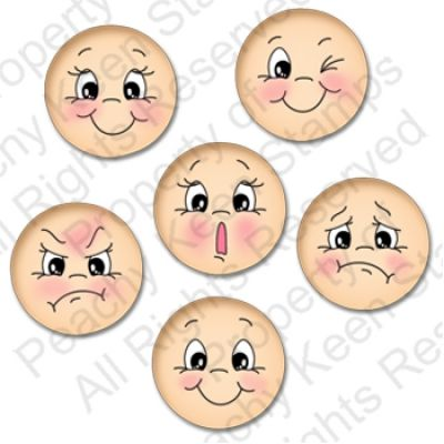 PK-0491 Everyday Character Faces 1-1/8th inch