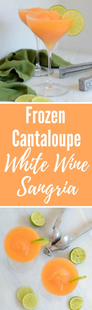 Frozen Cantaloupe White Wine Sangria   CaliGirlCooking.com
