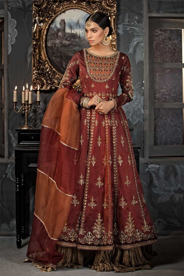 Maria B maroon couture wedding dress   Wedding dress couture ...