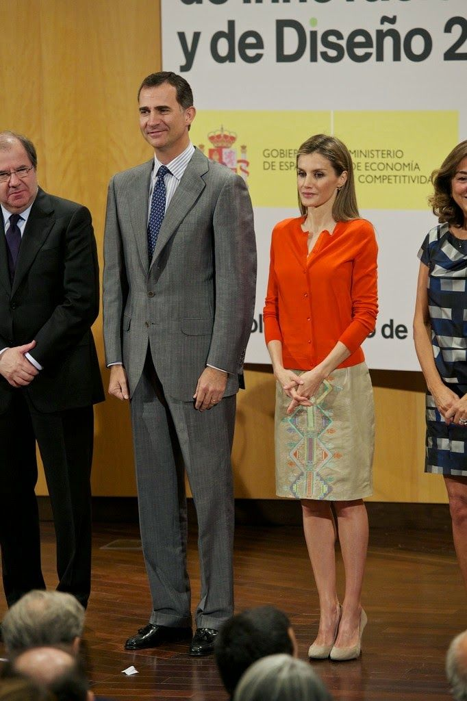 01 July 2014 King Felipe  and Queen Letizia attended the delivery of National Innovation and Desing Awards 2013 at Museo de la Ciencia de Valladolid in Valladolid