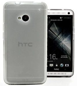 Protective sleeve one pudding covers transparent soft cover phone shell casing for HTC M7 (gray)