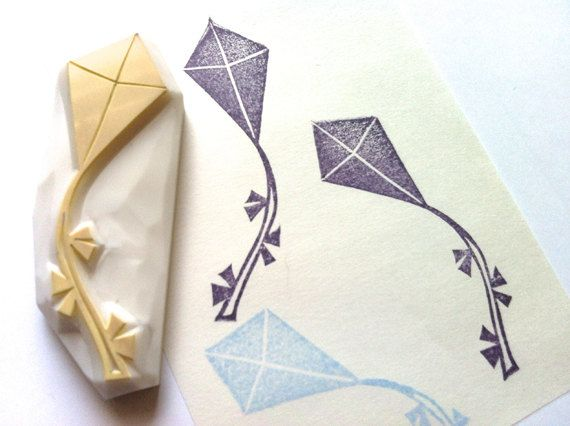 new! kite rubber stamp. designed and hand carved by talktothesun. available at www.talktothesun.etsy.com