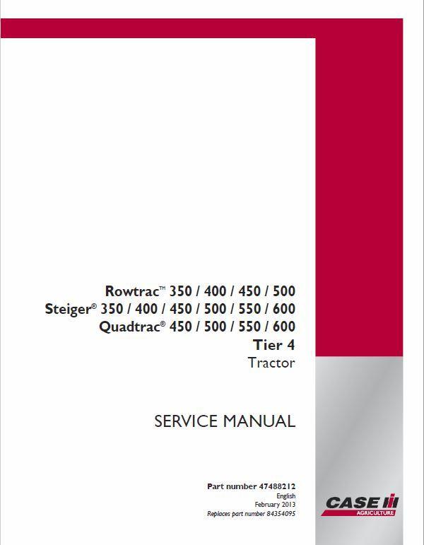 Case 450 550 600 Quadtrac Tractor Service Manual In 2020 Tractors Manual Hydraulic Systems