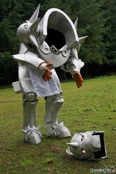 """An awesome Cosplay of Alphonse, from FullMetal Alchemist. He's gone and lost his head again. XD"" Oh my GOSH! How did they do that?!"
