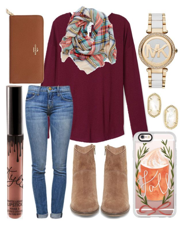 Good morning by jadenriley21 on Polyvore featuring Current/Elliott, Steve Madden, Coach, Michael Kors, Kendra Scott, Casetify and Aerie