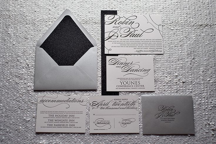 formal wedding invitation, letterpress wedding invitation, black tie wedding invitation, black, white, silver, glitter invitation