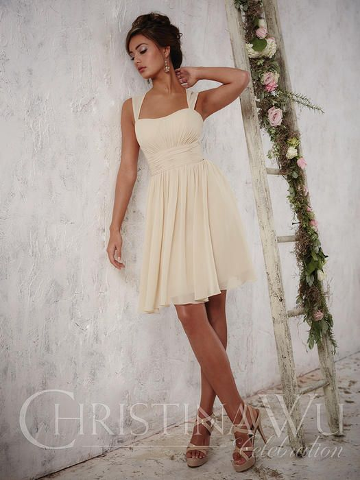 Christina Wu Celebrations 22697 Complement Your Best Attributes In This  Short Chiffon Dress, Showing Off A Pleated Middle, Semi Sweetheart  Neckline, ...