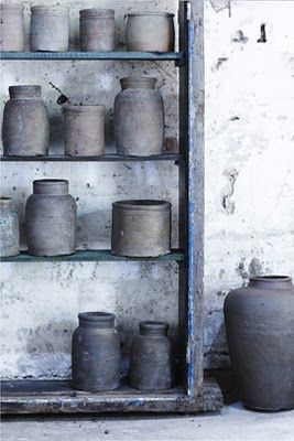 grey clay pots