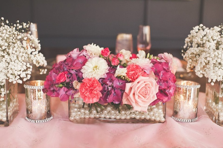 Bridal Shower Arrangements in whites pinks, and purples. Very girly! Flowers by Table Tops Etc., Event planning by Some like it Classic.