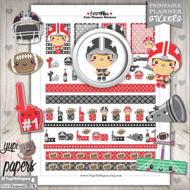 Football Stickers, Planner Stickers, Kawaii Stickers, Sport, Sports, Planner Accessories, American Football, Digital Stickers