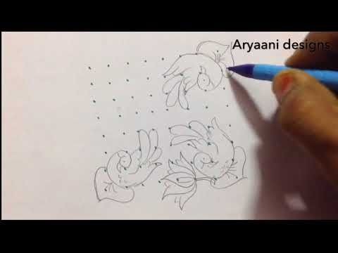 Simple peacock and flag rangoli...9 to 5 middle dots.. - YouTube
