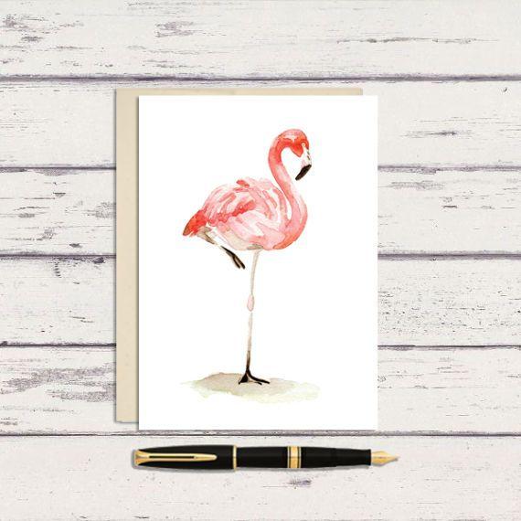 Flamingo 5 X 7 Watercolor Greeting Card A7 Watercolor Etsy Watercolor Greeting Cards Watercolor Cards Original Watercolor Painting