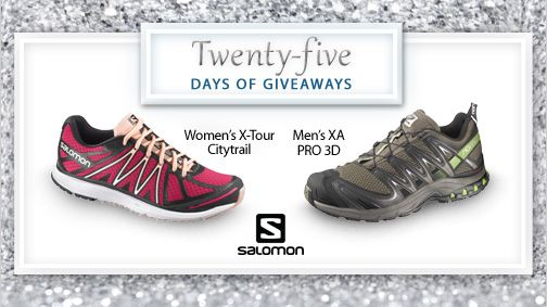 Today is day 4 of #25DaysofGiveaways! Feel the freedom to explore in a pair of Salomon shoes. The outdoors is calling! Enter to win a pair here.