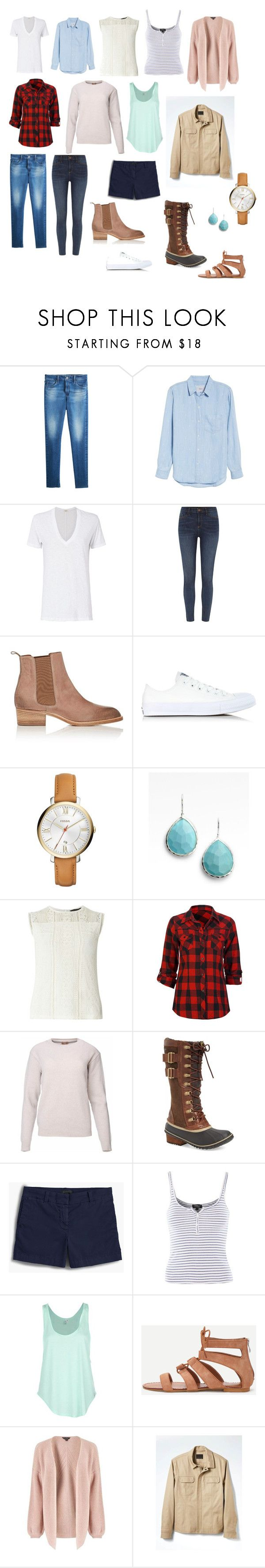 """Year-round SAHM minimalist wardrobe"" by cheryl-eisenschmid on Polyvore featuring AG Adriano Goldschmied, Rails, Monrow, River Island, Sartore, Converse, FOSSIL, Ippolita, Dorothy Perkins and Full Tilt"