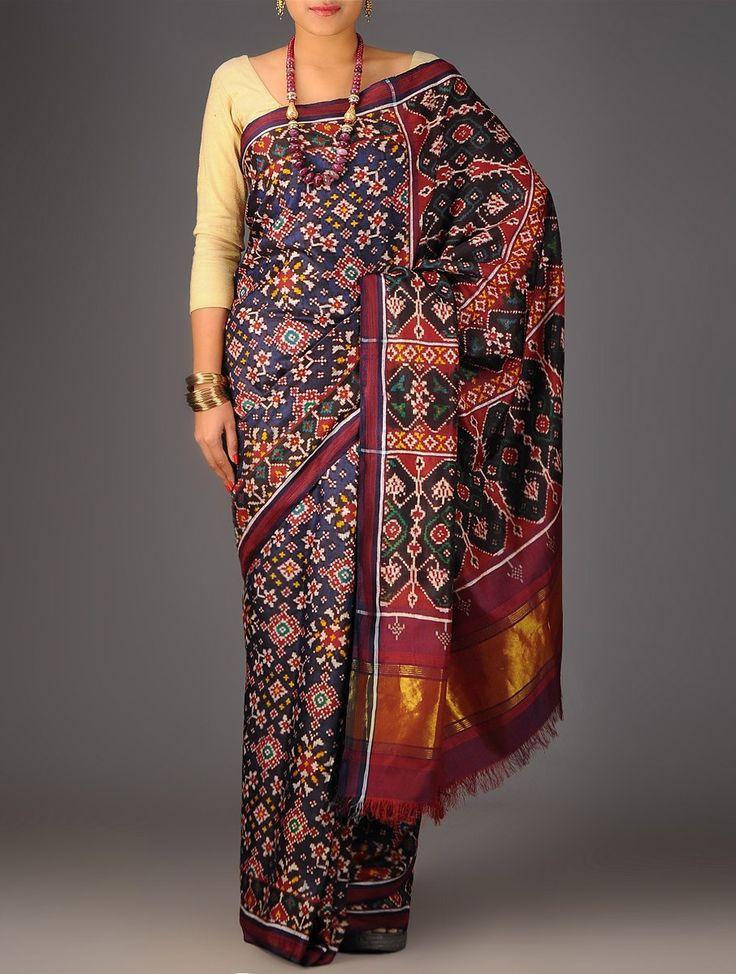 Buy Blue Red Black Double Ikat Patan Patola Silk Saree Accessories Scarves & Stoles Resplendent Legacy Sarees Dupattas in Single Online at Jaypore.com