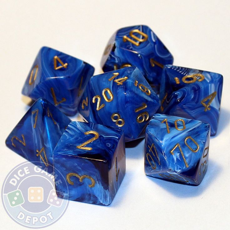 This set contains the following dice: 1 four-sided dice (d4) 1 six-sided dice (d6) 1 eight-sided dice (d8) 1 ten-sided dice (d10) 1 percentile dice (d%) 1 12-sided dice (d12) 1 twenty-sided dice (d20)