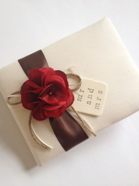 "Wedding Guest Book, Red Hydrangeas, Chocolate Brown Ribbon, Hand Stamped ""Mr and Mrs"" - by CoutureLife, $48.99"