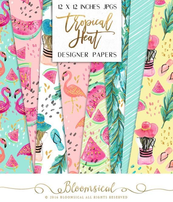 hibiscus planner stickers flamingo digital paper Graphics resources,pattern,Planner girl,Planner paper pattern paper kawaii background