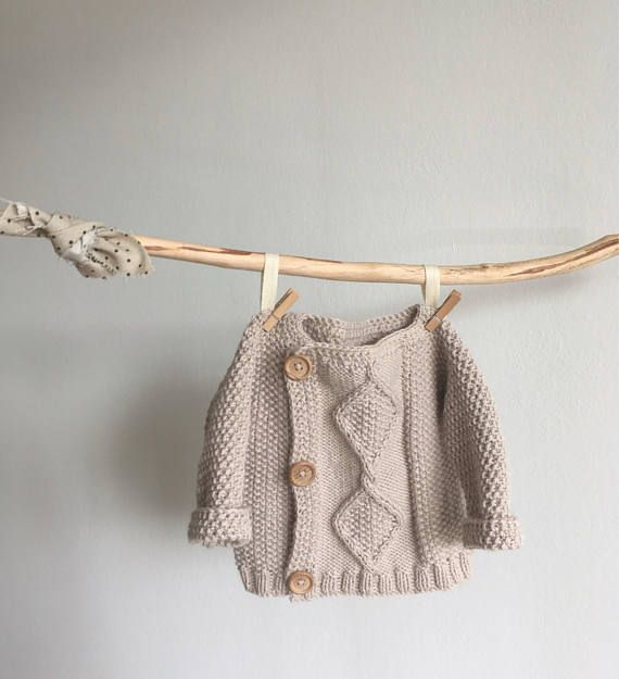 Hand knitted sweater for baby, newborn sweater from cotton and merino wool. Cozy and comfortable to wear for little baby. Size: newborn