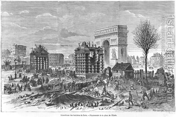 Demolition of the Paris barriers, Arc de Triomphe and Place de lEtoile, engraved by Henry Duff Linton 1815-99 1860 by Felix Thorigny