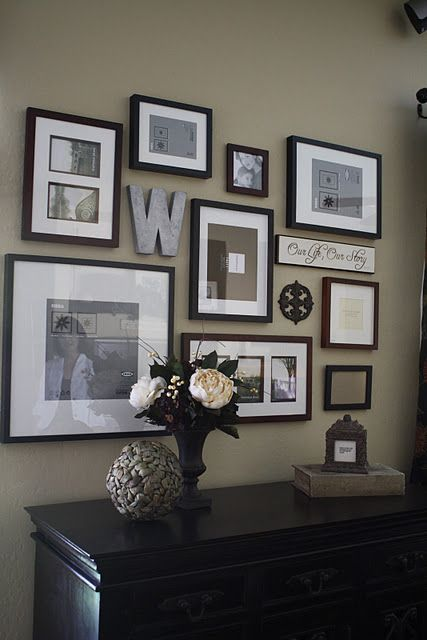gallery wall love this website also has great design templates start with hanging up paper on the all that is the same size as your picture frames