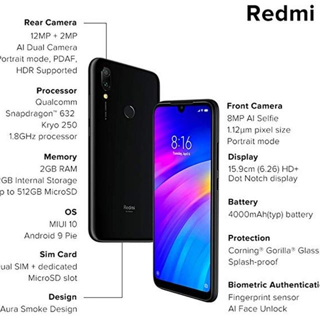 New The 10 Best Technologies Today With Pictures Redmi 7 Eclipse Black 2gb Ram 32gb Storage In Stock 12mp2mp Dual Rear Camera 8mp 2gb Ram 32gb Ram