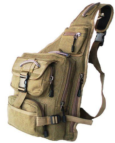 Military Inspired Canvas Sling Bag Backpack Bookbag Khaki Green by stic