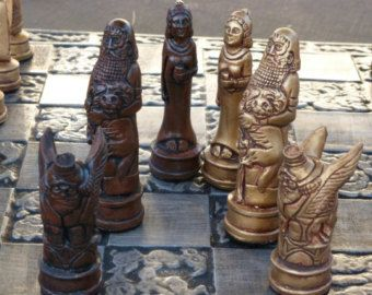 gothic heads chess set colours harry potter