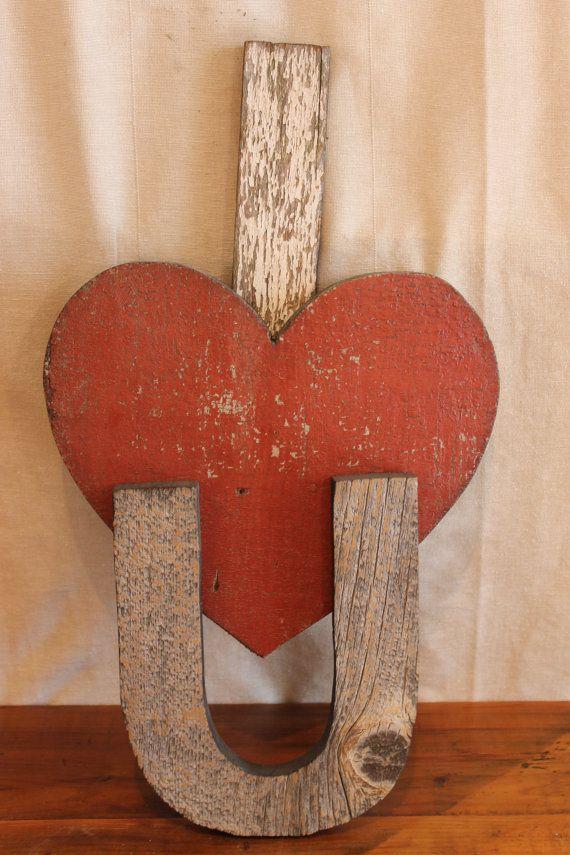 I Love You sign --Reclaimed Barn Wood