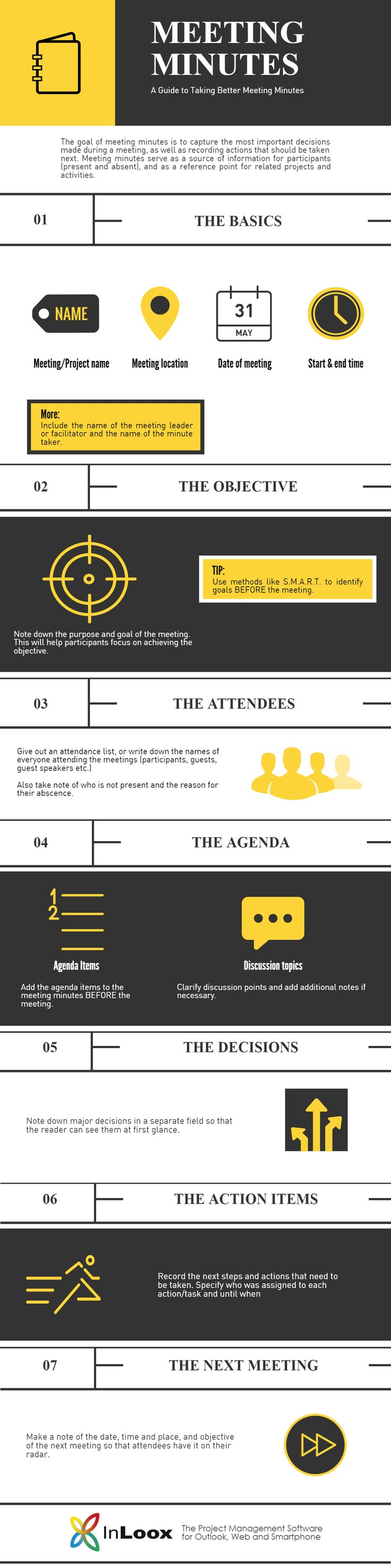 "[INFOGRAPHIC] [TEMPLATE] Meetings are not ""out of sight, out of mind"" affairs – or they shouldn't be, because after the meeting is when the action really starts. To get the most out of meetings, it's important to have clear meeting minutes which outline the most important decisions made and the next actions that should be taken."