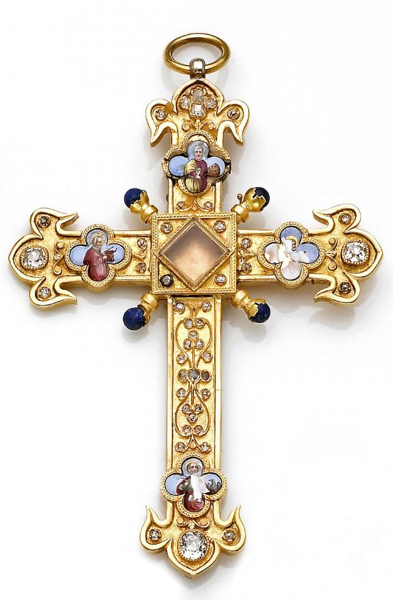 An antique gold, enamel and diamond-set pendant, circa 1880  in the form of a cross centering a reliquary (empty) with rose and old mine-cut diamonds, lapis lazuli and enamel detail representing four apostles, Mark with the lion, Matthew with the angel (obliterated), John with the eagle, and Luke with the bull