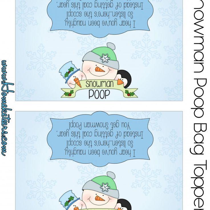 Snowman Poop Bag Topper  FREE Printable  Printable and