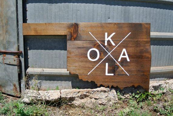 OKLA Oklahoma State Shape Wall Hanging | WACO | Oklahoma Decor | Oklahoma City